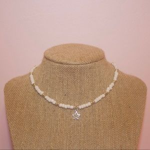 White and silver star seed bead choker necklace